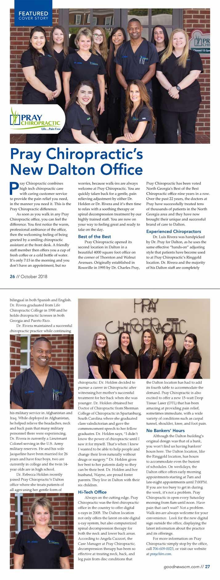 Chiropractic Dalton GA October 2018 Magazine